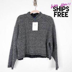 NWT Zara Boxy Crop Mock Neck Marled Sweater #1373